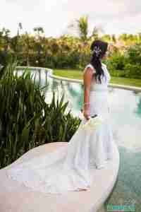 Real Bridal Gowns by the pool
